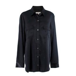Equipment x Tabitha Simmons Black Satin Star Jacquard Shirt