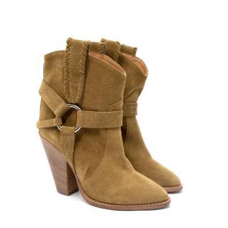 Isabel Marant Etoile Rawson Gaucho Olive Suede Heeled Ankle Boots