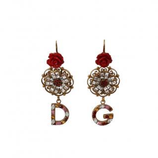 Dolce & Gabbana Crystal DG Flower Clip-On Earrings