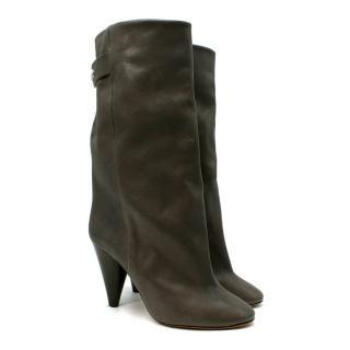 Isabel Marant Lakfee Dark Grey Smooth Leather Heeled Boots