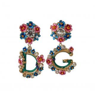 Dolce & Gabbana Multicolour Floral DG Drop Earrings