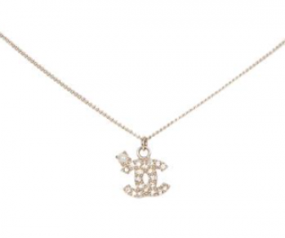 Chanel Crystal Faux Pearl CC Pendant Necklace