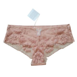 La Perla Beige Floral Embroidered French Knickers