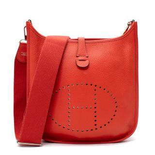 Hermes Taurillon Clemence Leather Rouge Pivoine Evelyne III 29 PHW