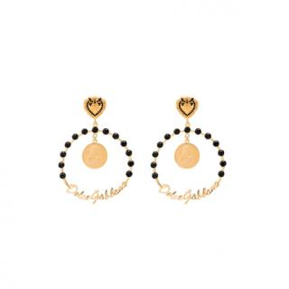 Dolce & Gabbana gold tone large embellished hoop earrings