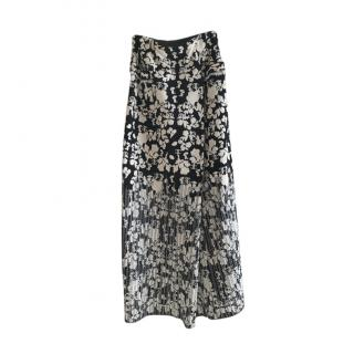 CHANEL Cruise Long Black White Cotton/viscose mix Logo Maxi Skirt