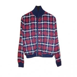 Dolce & Gabbana red navy and white tartan check bomber jacket