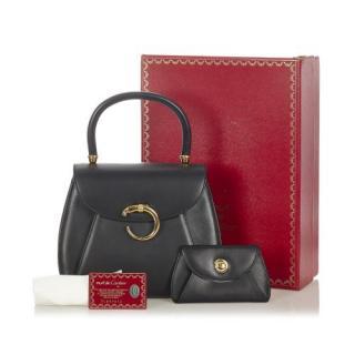 Cartier Black Leather Vintage Panthere Top Handle Bag