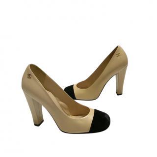 Chanel Bi-Colour Block Heel Pumps