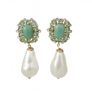 Dolce & Gabbana Faux Pearl Crystal Embellished Clip-On Earrings