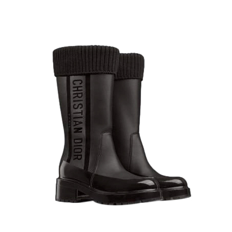 Dior Black Leather Knit/Patent Greaser D Boots