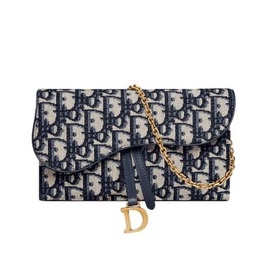 Dior Blue Oblique Saddle Wallet on chain