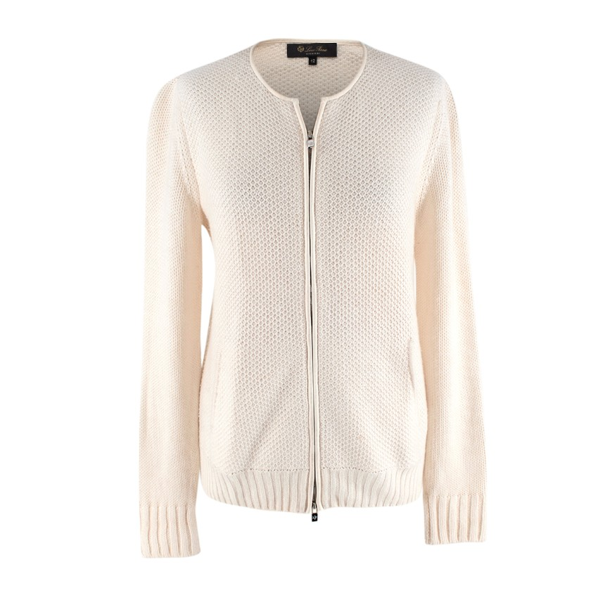 Loro Piana Ivory Knitted Cashmere Blend Zip-Up Cardigan