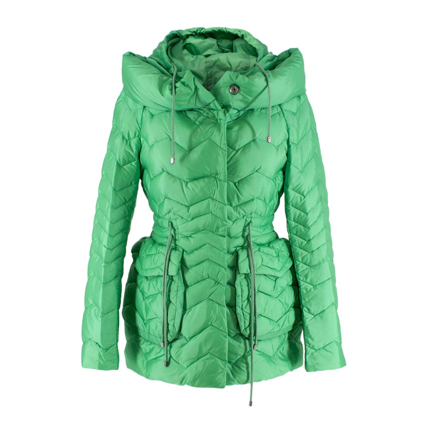 Ermanno Scervino Neon Green Hooded Quilted Puffer Jacket