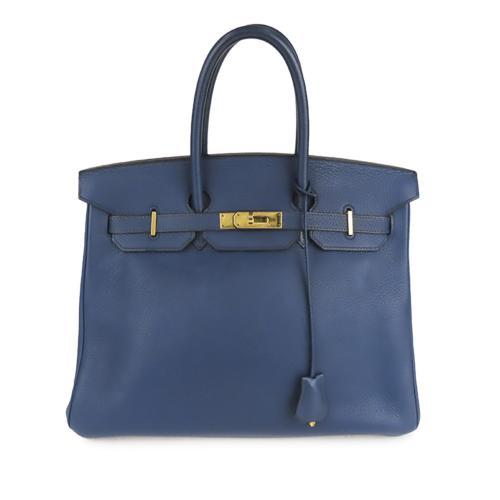 Hermes Blue Clemence Leather Birkin 35 GHW