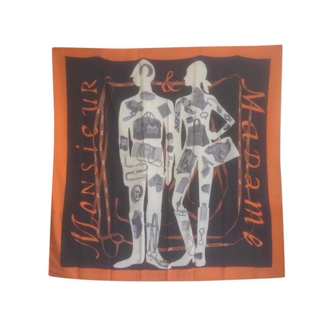 Hermes Cashmere & Silk Monsieur et Madame Scarf 140