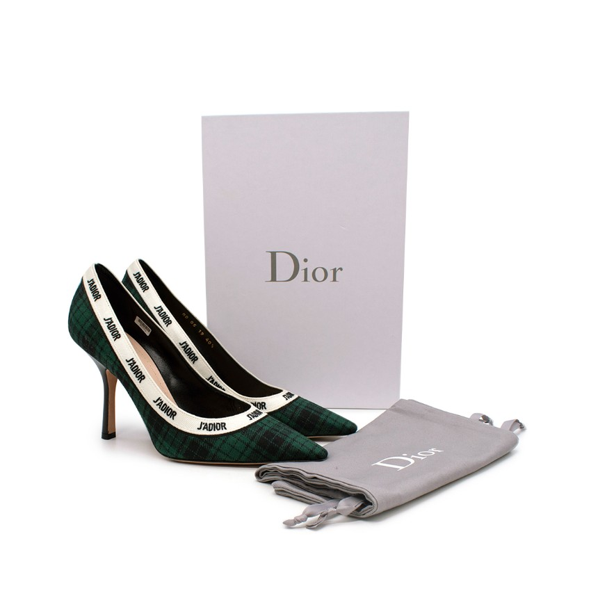 Christian Dior J'adior Trim Green & Navy Plaid Heeled Pump