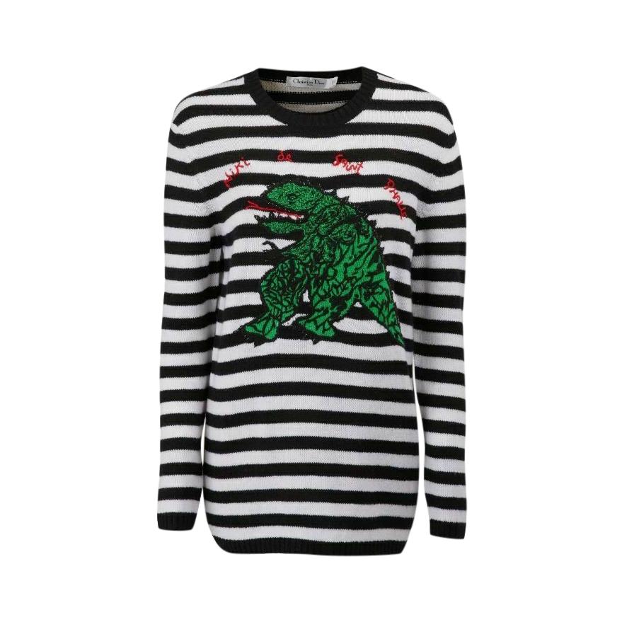 Dior Dragon Embroidered Niki Striped Cashmere Jumper