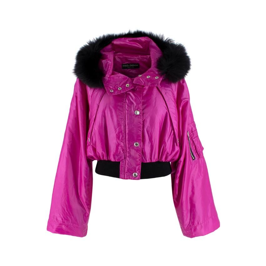 Dolce & Gabbana Fuchsia Cropped Hooded Raccoon Trim Jacket