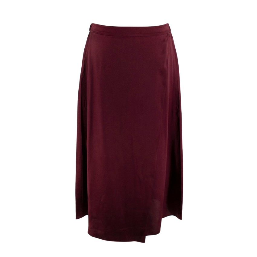 Vince Burgundy Silk-Satin Mock-Wrap Slip Skirt