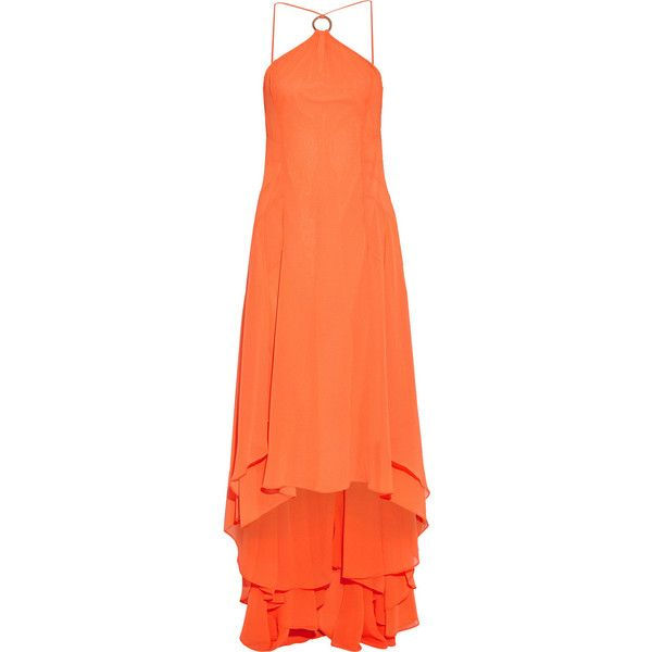 Halston Heritage Asymmetric Mandarin Georgette Gown