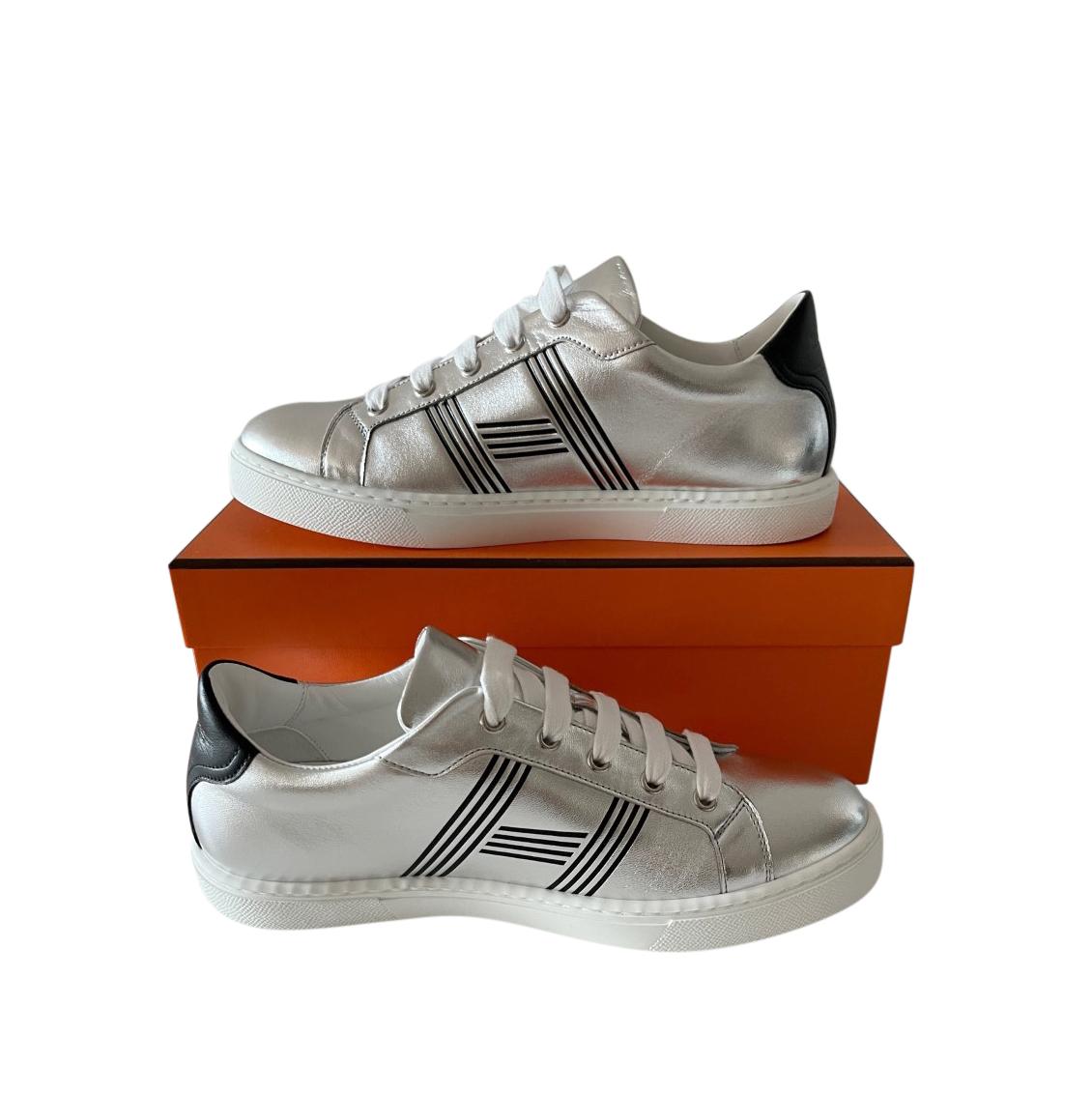 Hermes Metallic Silver Avantage Sneakers