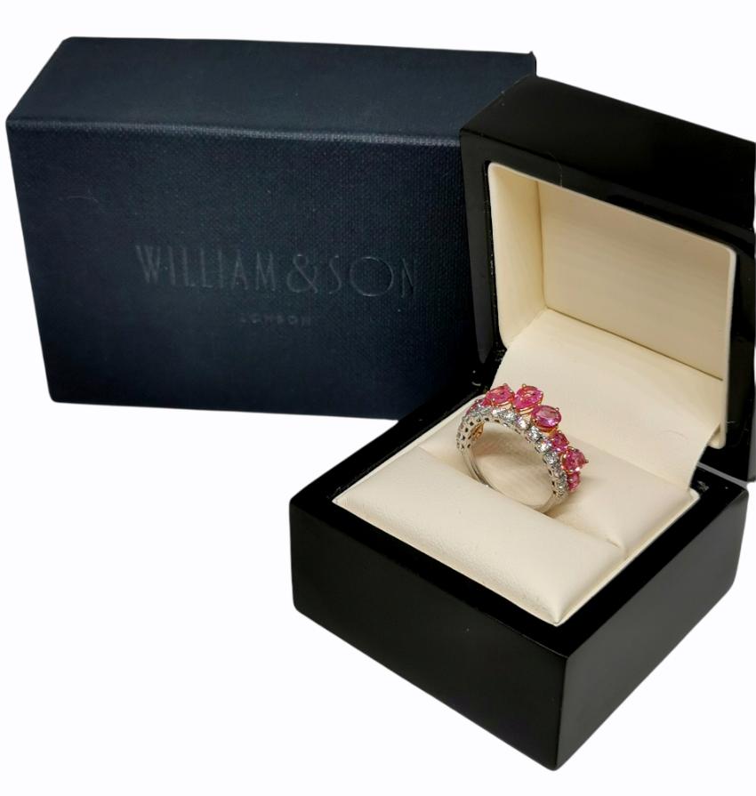 William & Son Pink Sapphire & Diamond White Gold Tiara Ring