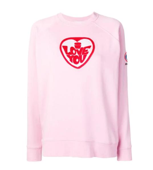 Bella Freud Pink I Love You Embroidered Sweatshirt