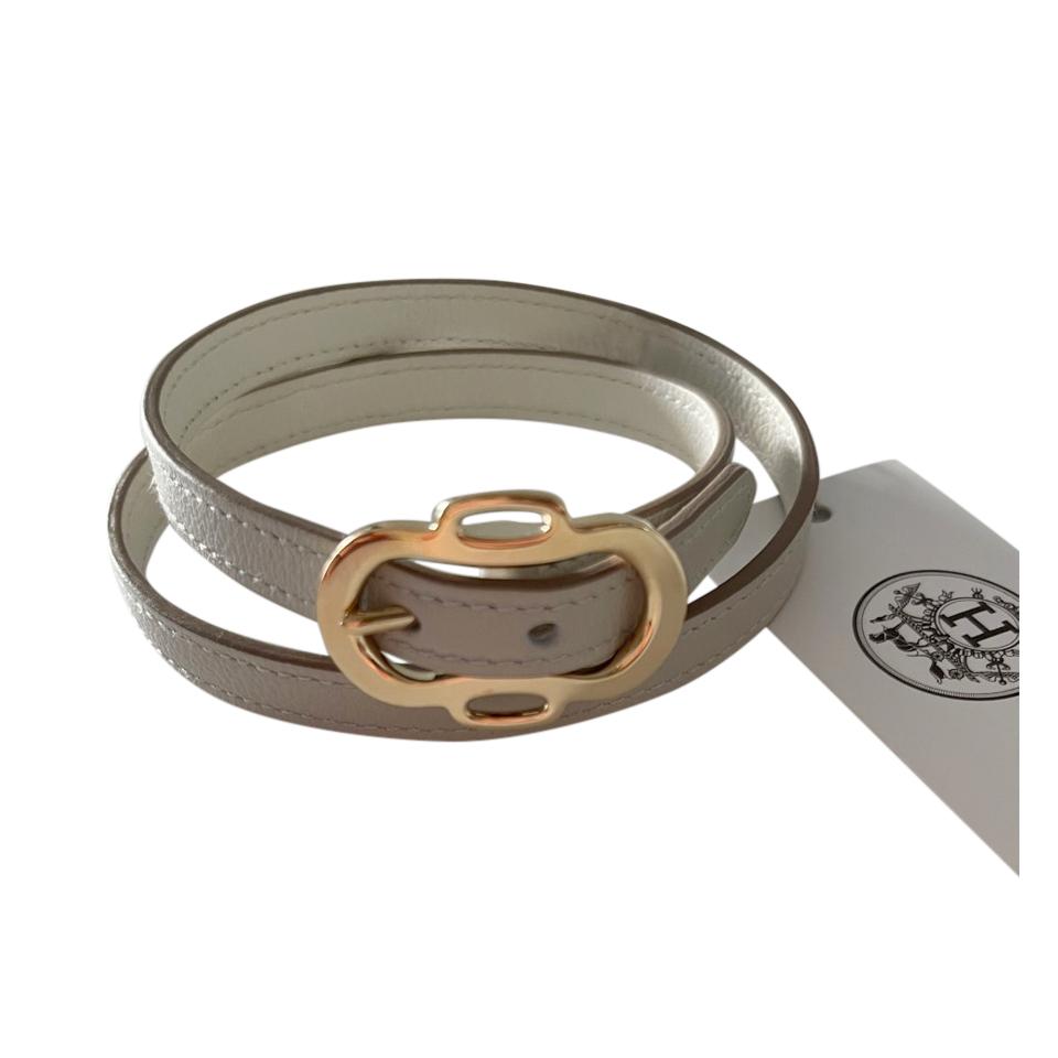 Hermes Gris Perle/Blanc Evercolor Boucleries Triple Tour Bracelet PHW