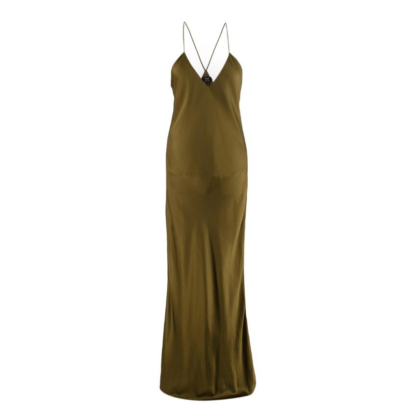 Alix NYC Lewis Olive Silk-Charmeuse Slip Dress