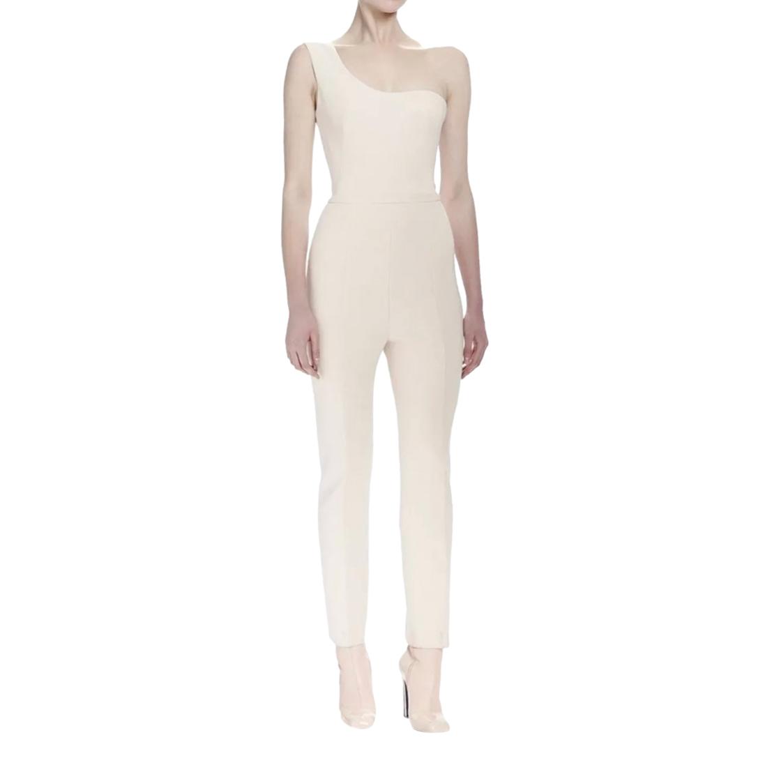 Alexander McQueen Pale Pink One Shoulder Jumpsuit
