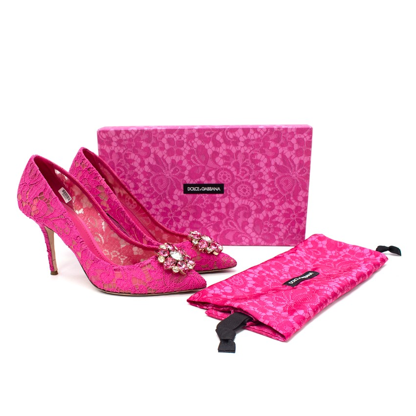Dolce & Gabbana Belluci Taormina Pink Lace Embellished Pumps