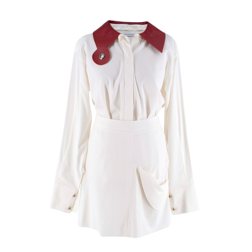 JW Anderson Detachable Leather Collar Ivory Crepe Blouse & Skirt Set