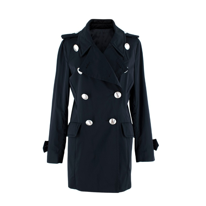 Moncler Navy Double Breasted Trench Coat