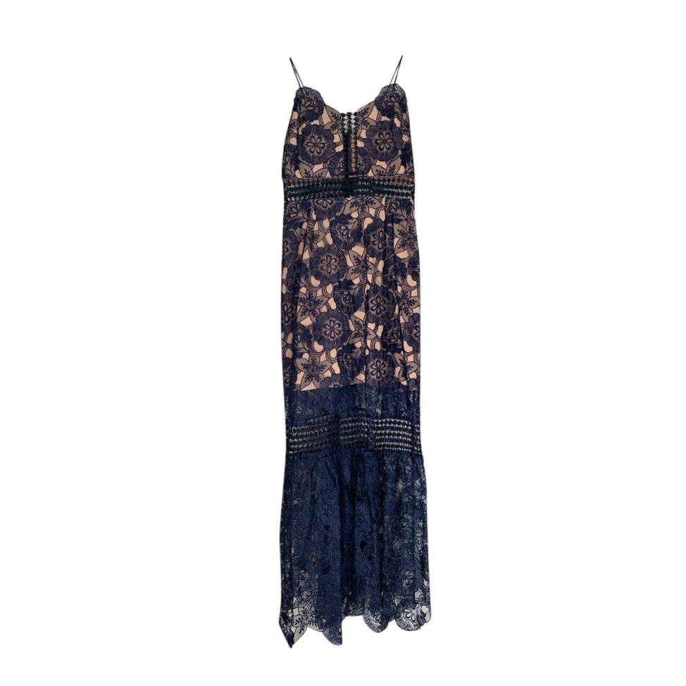 Self Portrait Blue/Nude Floral Lace Midi Dress
