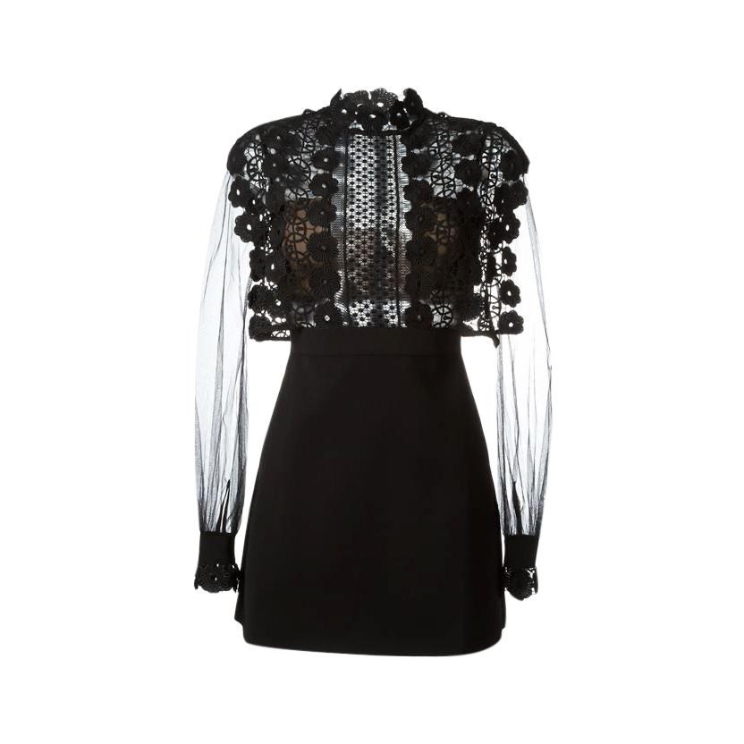 Self Portrait Black Crochet Panel Mini Dress with Sheer Sleeves