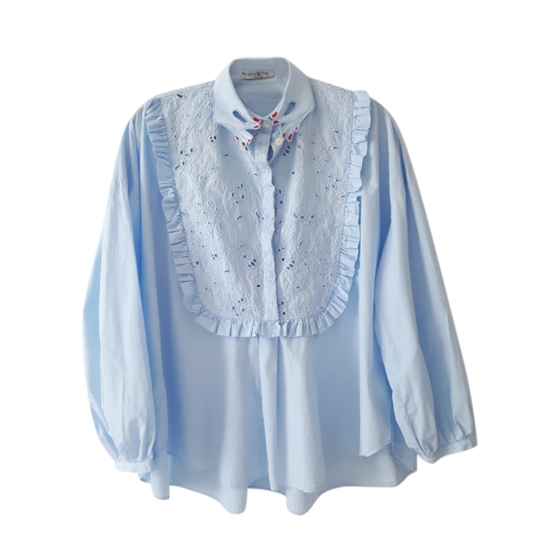 Vivetta Blue Embroidered Hand Collar Blouse