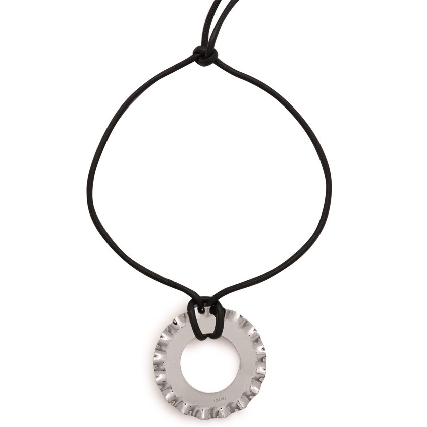 Loewe Silver Tone Pendant Cord Necklace