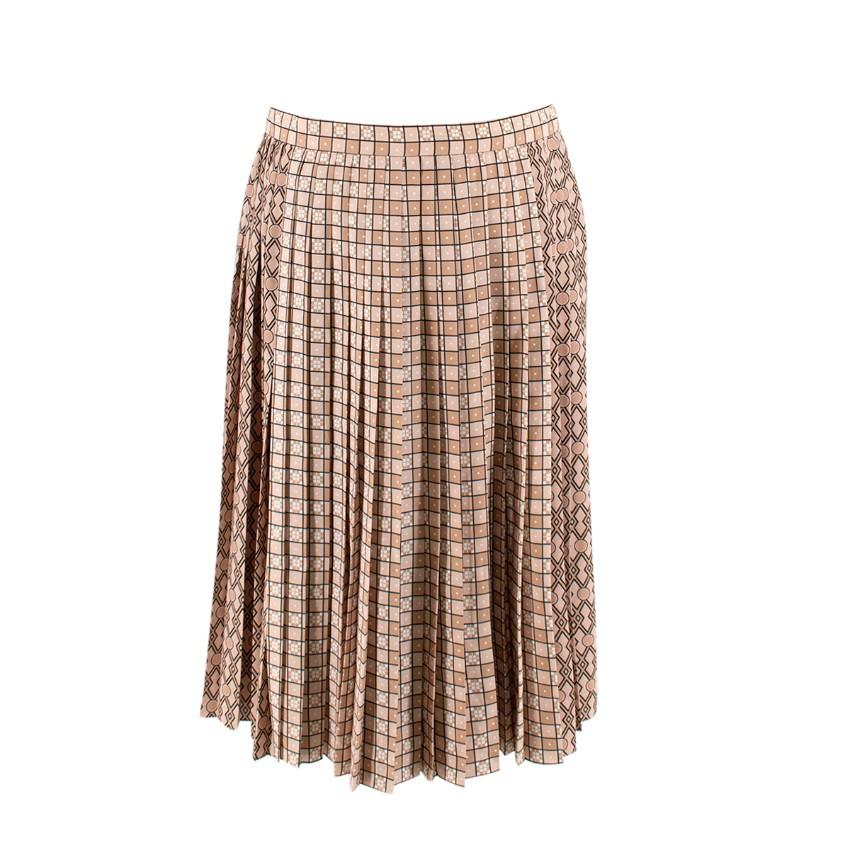 Burberry Piper Latte Pleated Geometric Pattern Midi Skirt