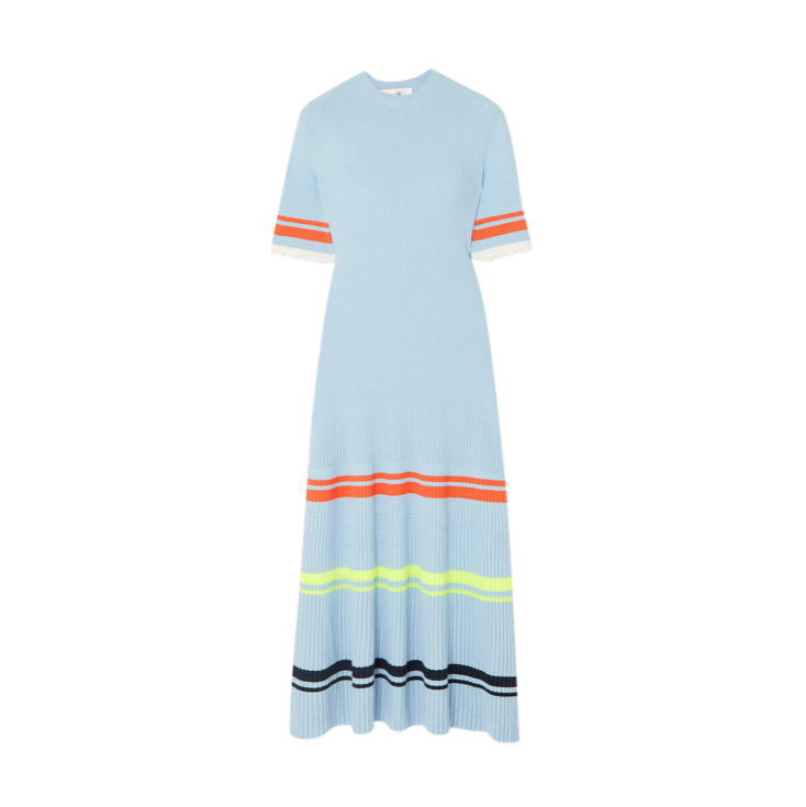 Victoria Victoria Beckham Ruffled striped ribbed-knit midi dress