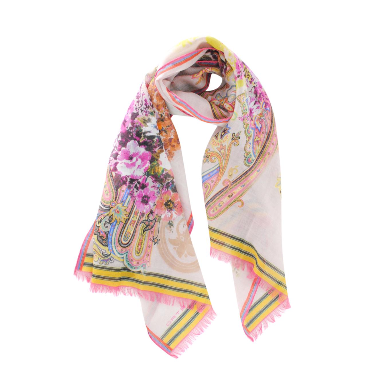 Etro Wool & Silk Floral Print Scarf