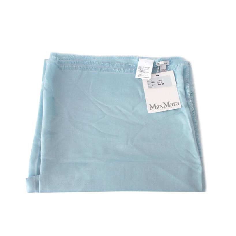 Max Mara Pale Blue Silk & Cotton Scarf