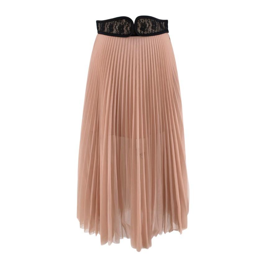 Christopher Kane Nude Pink Lace Waistband Pleated Midi Skirt