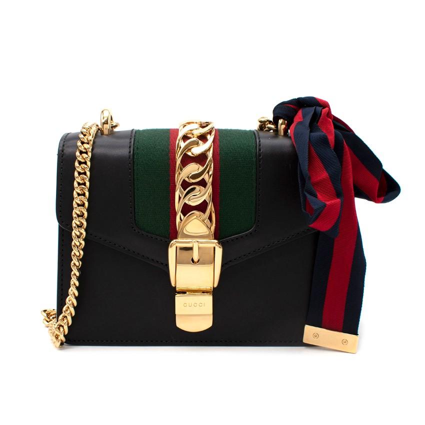 Gucci Sylvie Mini Black Leather Web Chain Shoulder Bag