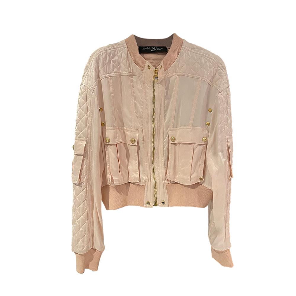Balmain Blush Quilted Cotton Bomber Jacket