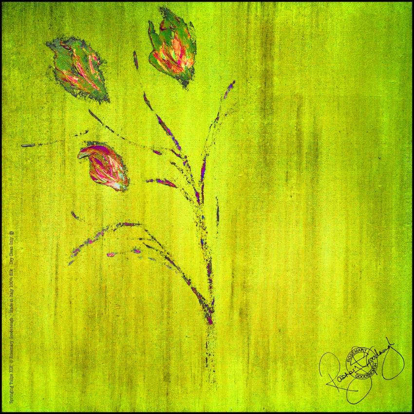 Rosemary Goodenough Green Springing Tulips XIX Silk Scarf