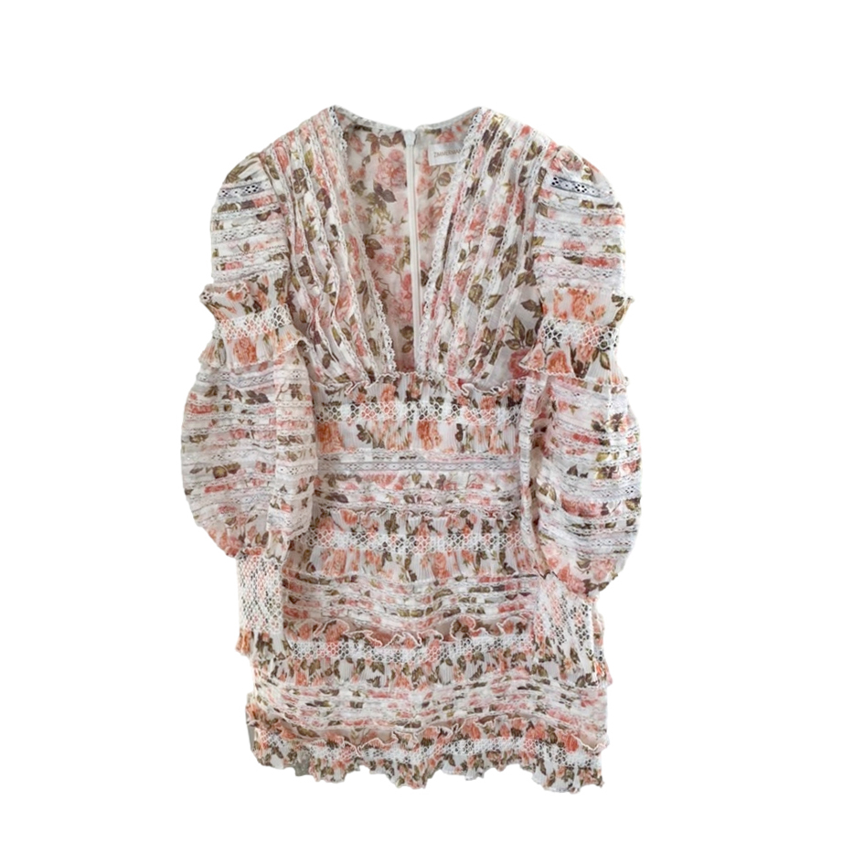 Zimmermann Floral Print Smocked Mini Dress