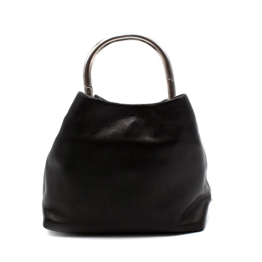 Prada Black Leather O-Ring Mini Top Handle Bag