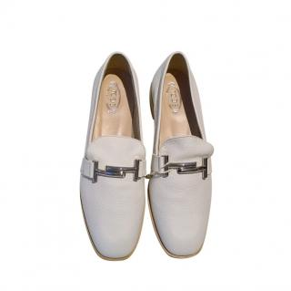 Tod's White Leather Doppia Loafers