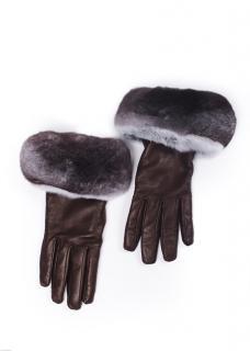 FurbySD Brown Leather Chinchilla Fur Trim Gloves